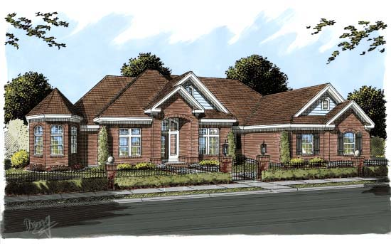 European House Plan 68551 Elevation