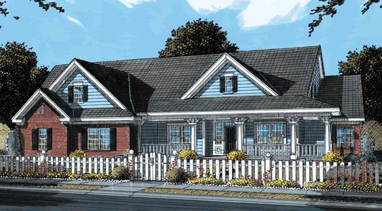 Traditional , Southern , Farmhouse , Country House Plan 68553 with 4 Beds, 4 Baths, 3 Car Garage Elevation