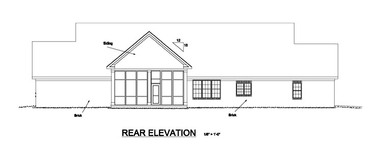 Traditional , Southern , Farmhouse , Country House Plan 68553 with 4 Beds, 4 Baths, 3 Car Garage Rear Elevation