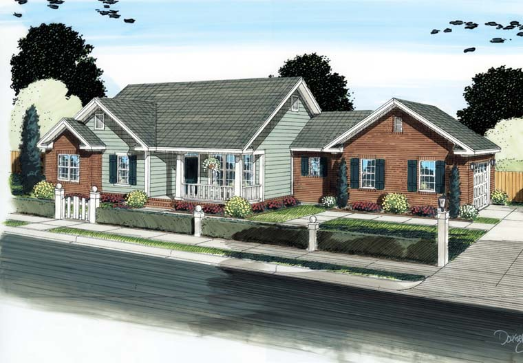 Ranch , Traditional House Plan 68566 with 4 Beds, 3 Baths, 2 Car Garage Elevation