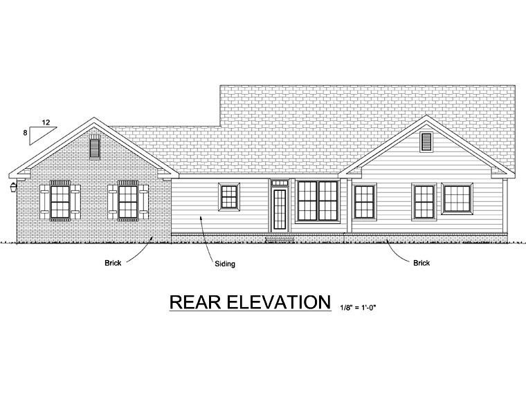 Ranch Traditional Rear Elevation of Plan 68566