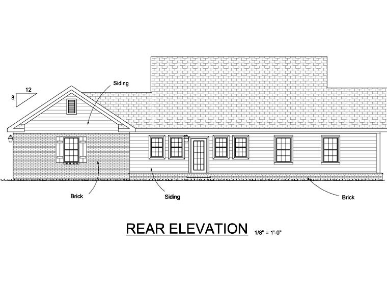 Cottage Traditional House Plan 68568 Rear Elevation