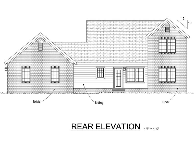 Traditional House Plan 68569 Rear Elevation