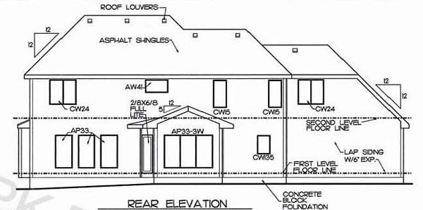 European Tudor House Plan 68582 Rear Elevation
