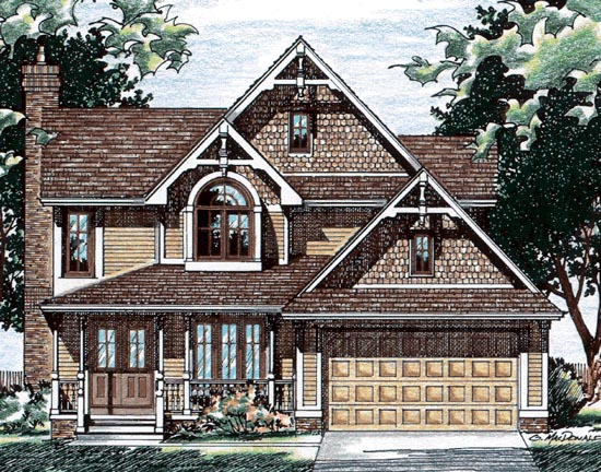 Country, Craftsman House Plan 68607 with 3 Beds, 3 Baths, 2 Car Garage Elevation