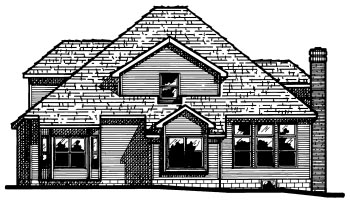 Country Rear Elevation of Plan 68634