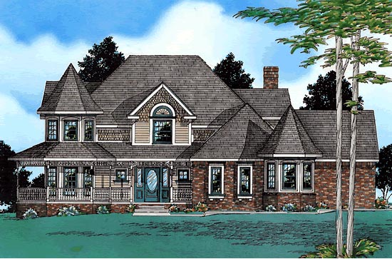 Victorian House Plan 68646 with 4 Beds, 4 Baths, 3 Car Garage Elevation