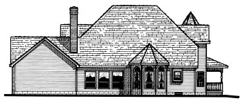 Victorian House Plan 68646 with 4 Beds, 4 Baths, 3 Car Garage Rear Elevation