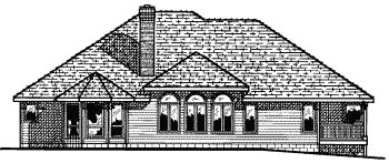European One-Story Rear Elevation of Plan 68674