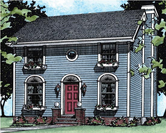 Colonial House Plan 68677 with 3 Beds, 3 Baths Elevation