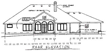 House Plan 68712 | Traditional Style Plan with 2057 Sq Ft, 3 Bedrooms, 2 Bathrooms, 2 Car Garage Rear Elevation