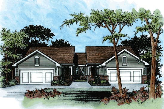 Traditional Multi-Family Plan 68713 Elevation