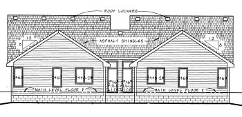 Traditional Multi-Family Plan 68713 Rear Elevation