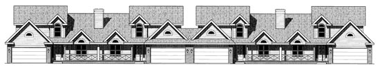 Ranch, Traditional Multi-Family Plan 68716 with 12 Beds, 12 Baths, 8 Car Garage Elevation