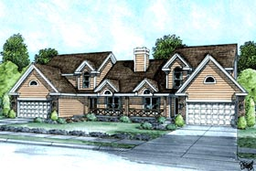 Multi-Family Plan 68717 | Ranch Traditional Style Plan with 3440 Sq Ft, 6 Bedrooms, 6 Bathrooms, 4 Car Garage Elevation
