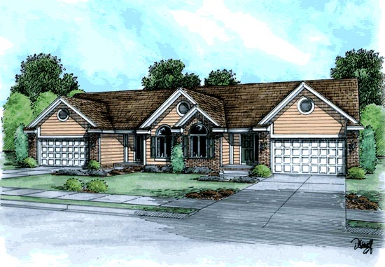Traditional , Ranch Multi-Family Plan 68718 with 4 Beds, 4 Baths, 4 Car Garage Elevation
