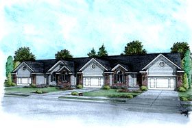 Multi-Family Plan 68719 | Ranch Traditional Style Plan with 3748 Sq Ft, 6 Bedrooms, 6 Bathrooms, 6 Car Garage Elevation