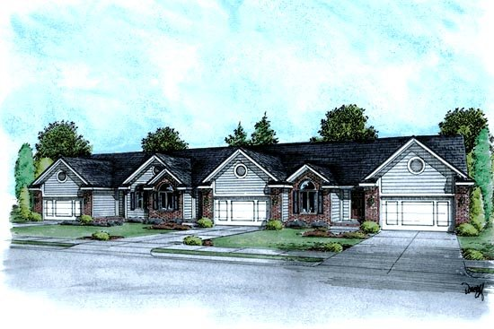 Ranch Traditional Multi-Family Plan 68719 Elevation