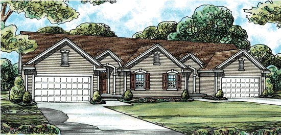 Traditional , Ranch Multi-Family Plan 68720 with 4 Beds, 4 Baths, 4 Car Garage Elevation