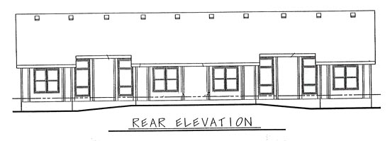 Ranch Traditional Multi-Family Plan 68720 Rear Elevation