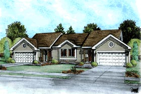 Multi-Family Plan 68721 | Ranch, Traditional Style Multi-Family Plan with 2280 Sq Ft, 4 Bed, 4 Bath, 4 Car Garage Elevation