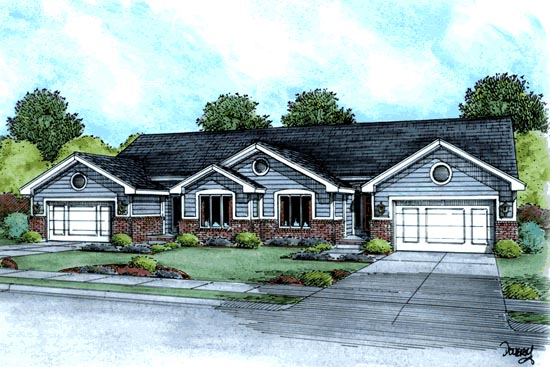 Ranch Traditional Multi-Family Plan 68722 Elevation