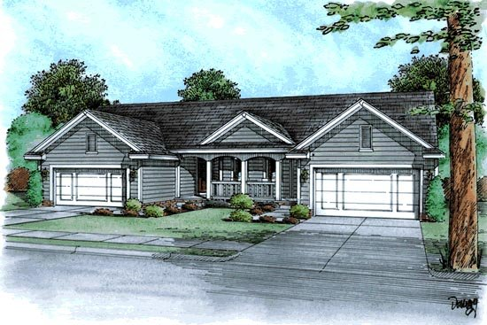 Multi-Family Plan 68725 | Ranch, Traditional Style Multi-Family Plan with 2910 Sq Ft, 4 Bed, 4 Bath, 4 Car Garage Elevation