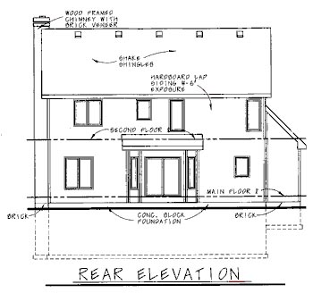 Country House Plan 68734 with 4 Beds, 3 Baths, 2 Car Garage Rear Elevation