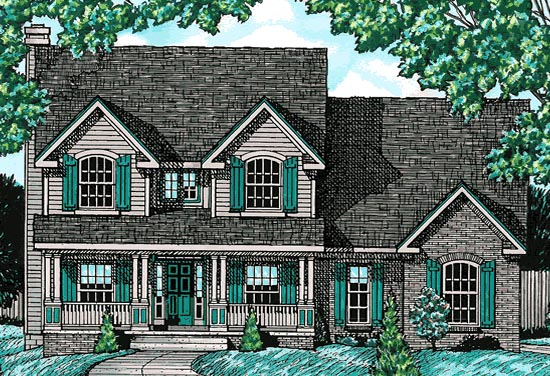 Country House Plan 68739 with 4 Beds, 3 Baths, 2 Car Garage Elevation