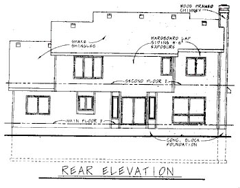Traditional Rear Elevation of Plan 68746