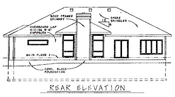 Contemporary House Plan 68751 Rear Elevation