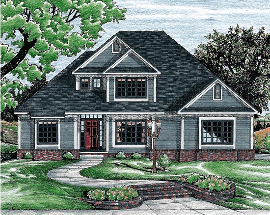 Traditional House Plan 68752 with 3 Beds, 3 Baths, 2 Car Garage Elevation