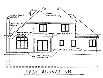 Traditional House Plan 68752 with 3 Beds, 3 Baths, 2 Car Garage Rear Elevation