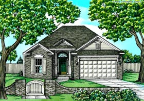 House Plan 68760 | Traditional Style Plan with 1339 Sq Ft, 2 Bedrooms, 2 Bathrooms, 2 Car Garage Elevation