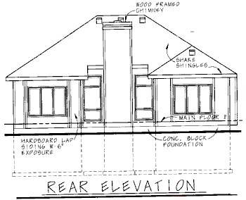 House Plan 68760 | Traditional Style Plan with 1339 Sq Ft, 2 Bedrooms, 2 Bathrooms, 2 Car Garage Rear Elevation