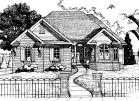 European House Plan 68767 with 3 Beds, 2 Baths, 2 Car Garage Elevation