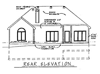 European House Plan 68767 with 3 Beds, 2 Baths, 2 Car Garage Rear Elevation