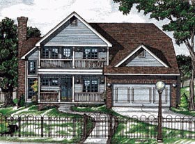 House Plan 68770 | Country Style Plan with 1799 Sq Ft, 3 Bedrooms, 3 Bathrooms, 2 Car Garage Elevation