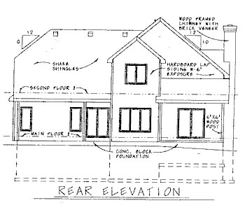 House Plan 68770 | Country Style Plan with 1799 Sq Ft, 3 Bedrooms, 3 Bathrooms, 2 Car Garage Rear Elevation