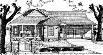 House Plan 68774 | Traditional Style Plan with 1385 Sq Ft, 1 Bedrooms, 2 Bathrooms, 2 Car Garage Elevation