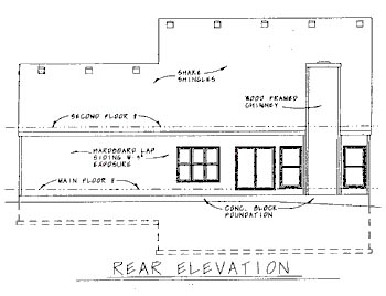 Colonial Rear Elevation of Plan 68775