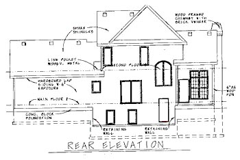 Traditional House Plan 68776 with 3 Beds, 3 Baths, 2 Car Garage Rear Elevation