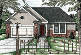 House Plan 68785 | Traditional Style Plan with 1191 Sq Ft, 3 Bedrooms, 2 Bathrooms, 2 Car Garage Elevation