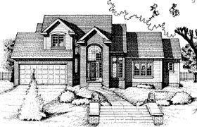 House Plan 68788 | Traditional Style Plan with 1484 Sq Ft, 3 Bedrooms, 3 Bathrooms, 2 Car Garage Elevation