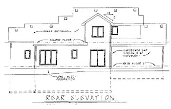 Traditional House Plan 68788 with 3 Beds, 3 Baths, 2 Car Garage Rear Elevation
