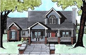 House Plan 68789 | Country Style Plan with 1341 Sq Ft, 3 Bedrooms, 3 Bathrooms, 2 Car Garage Elevation