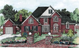 House Plan 68791   Traditional Style Plan with 3040 Sq Ft, 4 Bedrooms, 4 Bathrooms, 3 Car Garage Elevation