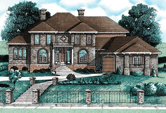 House Plan 68792 | Traditional Style House Plan with 3858 Sq Ft, 4 Bed, 5 Bath, 3 Car Garage Elevation
