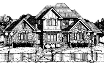 Tudor House Plan 68793 with 4 Beds, 4 Baths, 3 Car Garage Front Elevation