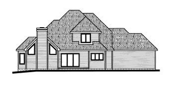 Tudor House Plan 68793 with 4 Beds, 4 Baths, 3 Car Garage Rear Elevation
